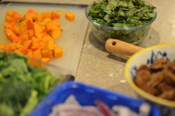 Fixin's---butternut squash, basil, sausage, onion, broccoli...