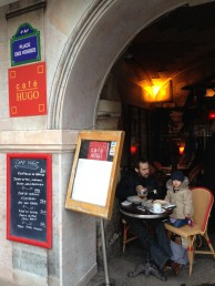 Cafe Hugo--in Place des Vosges, where we enjoyed our last lingering coffee (and beer) from the famed Victor Hugo house now cafe